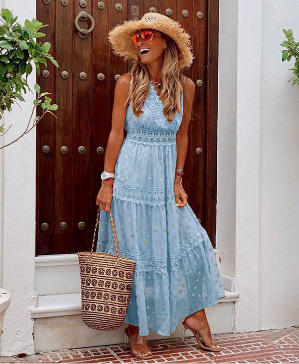 V Neck Chiffon Backless Boho Long Maxi Dresses