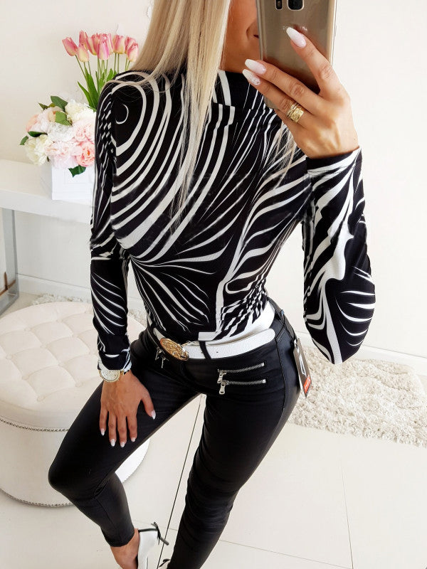 Long Sleeve Round Neck Bodycon Slim Tops