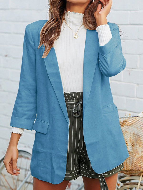 Super Chic Lapel Collar Pocket Blazer Jacket