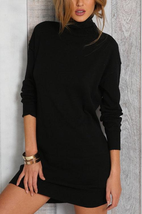 Pure Color High Neck Long Sleeves Party Dress - Landing Closet