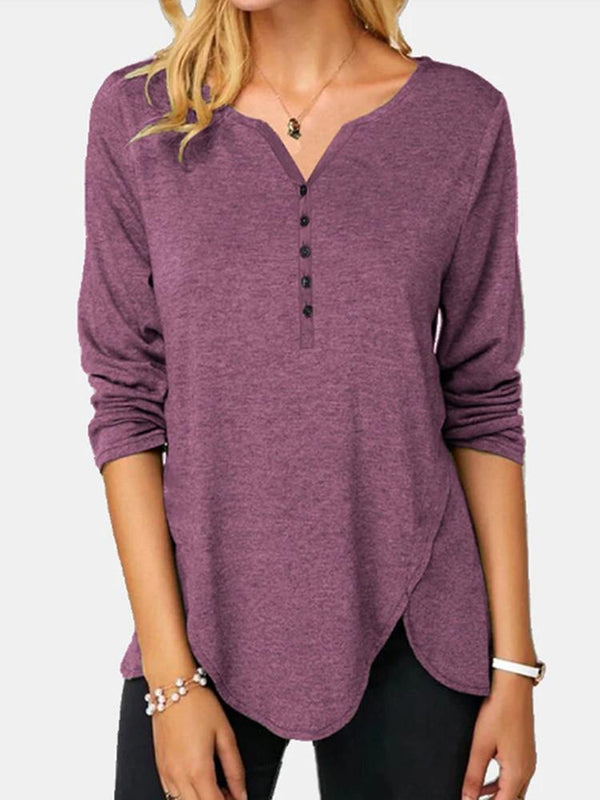Irregular Hem Button Solid Long-sleeve T-shirt