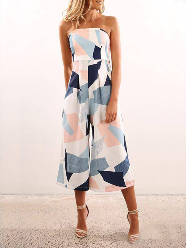 Off Shoulder Random Print Jumpsuit