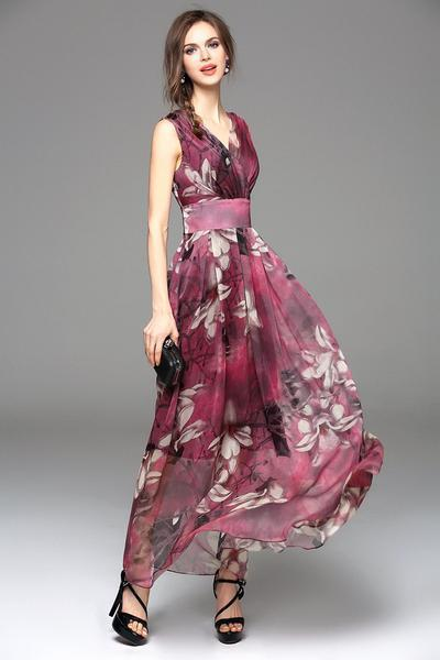 V-Neck Flower Prom Tunic Long Dress