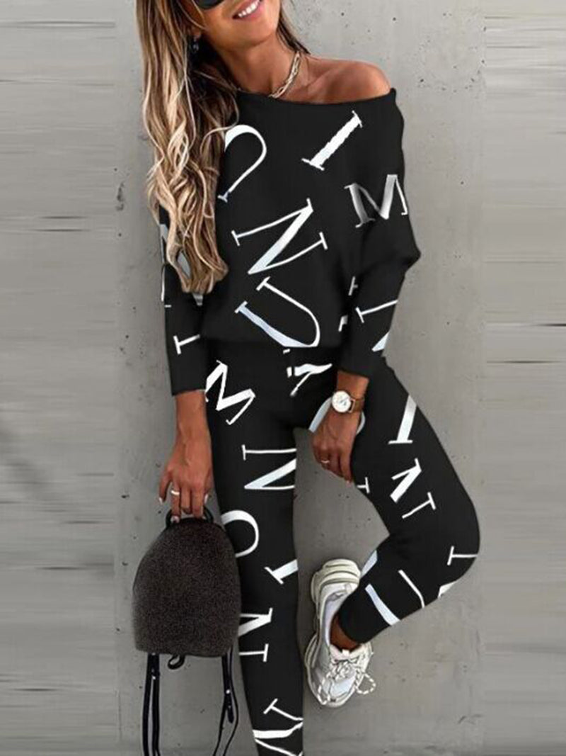 Causal 2 Piece Outfits Romper Round Neck Long Pant Jumpsuit