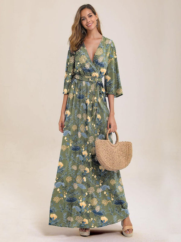 Floral Print Wrap Knotted Dress