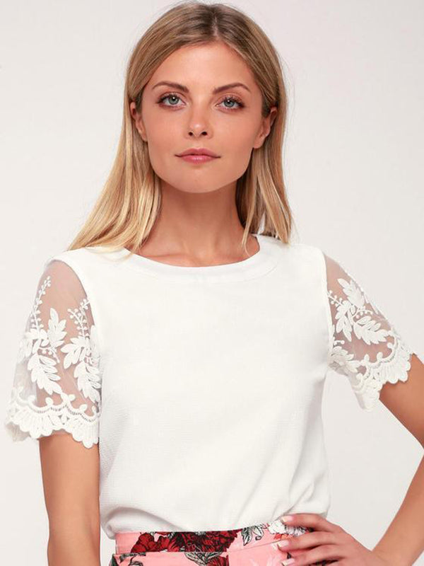 White Short Sleeve Floral Embroidered Office Lace Top