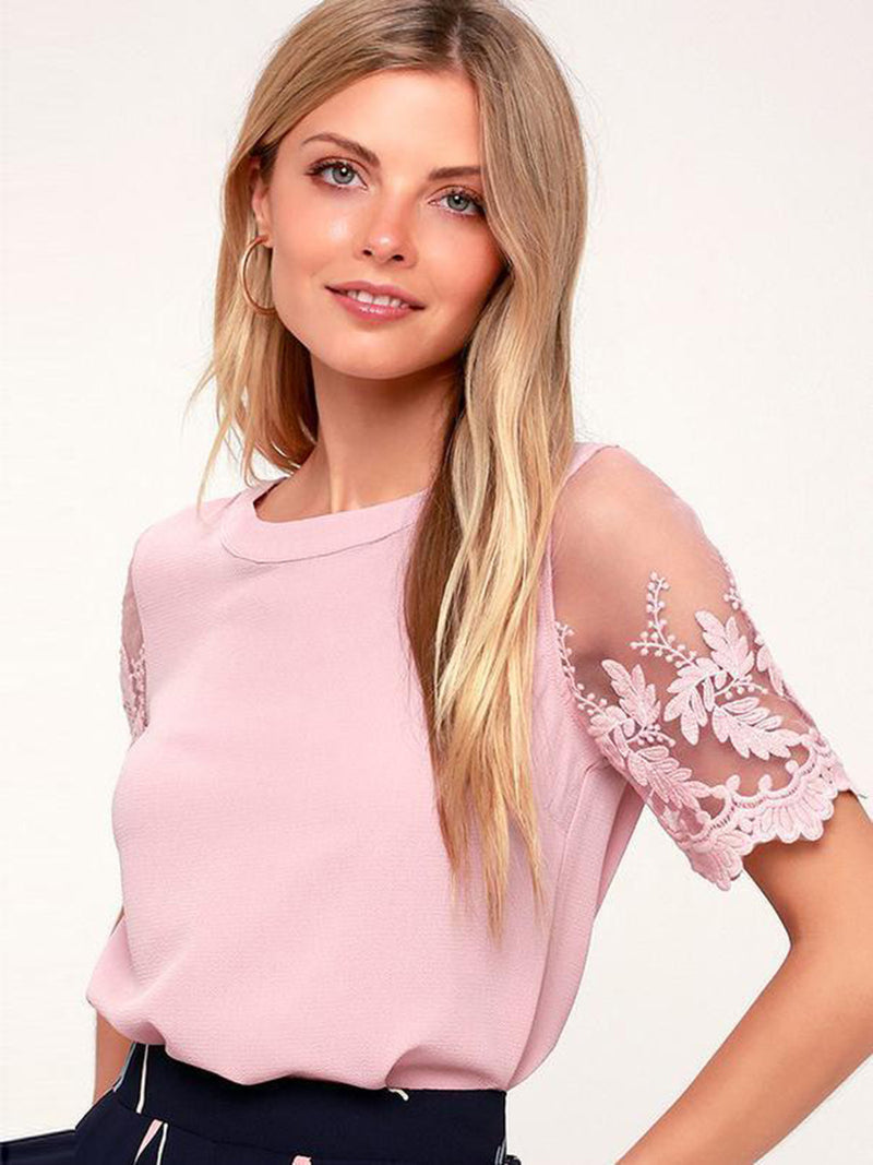 Pink Short Sleeve Floral Embroidered Office Lace Top - Landing Closet