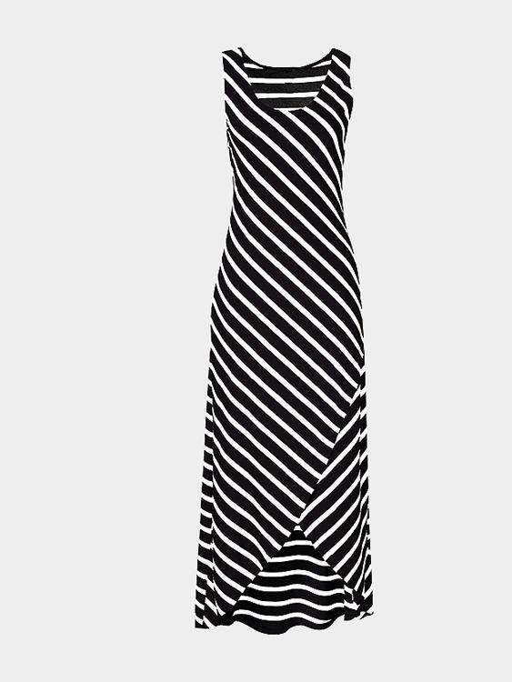 Black Striped Scoop Neck Asymmetrical Maxi Dress - Landing Closet