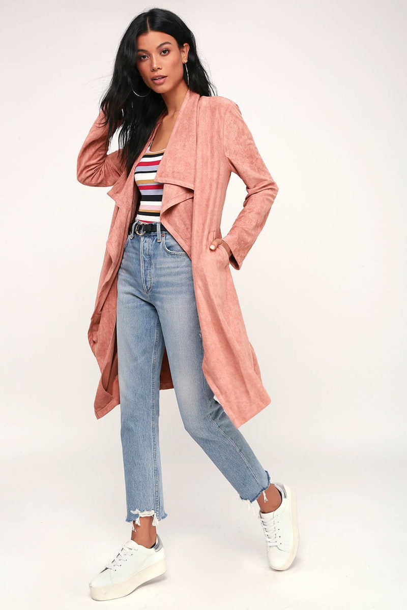 City of Trees Suede Jacket Coat Outerwear Pink - Landing Closet