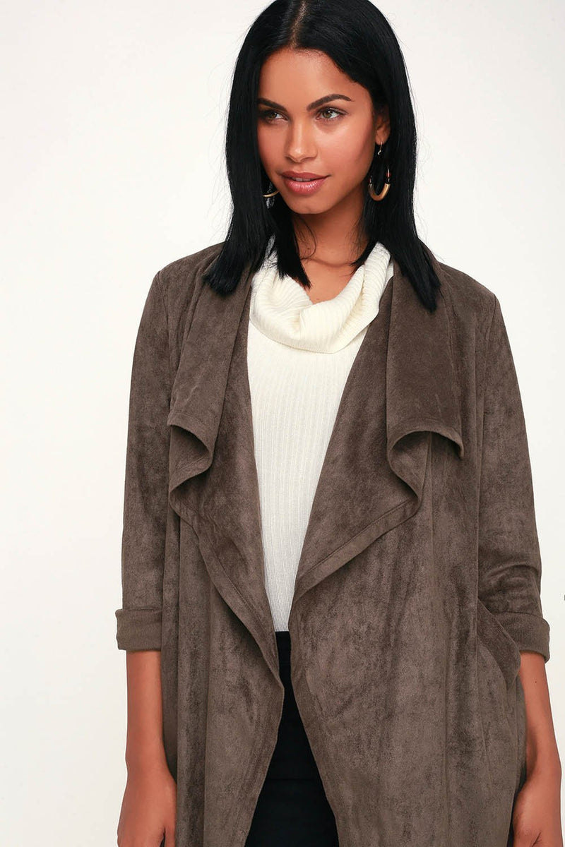 City of Trees Suede Jacket Coat Outerwear SaddleBrown - Landing Closet