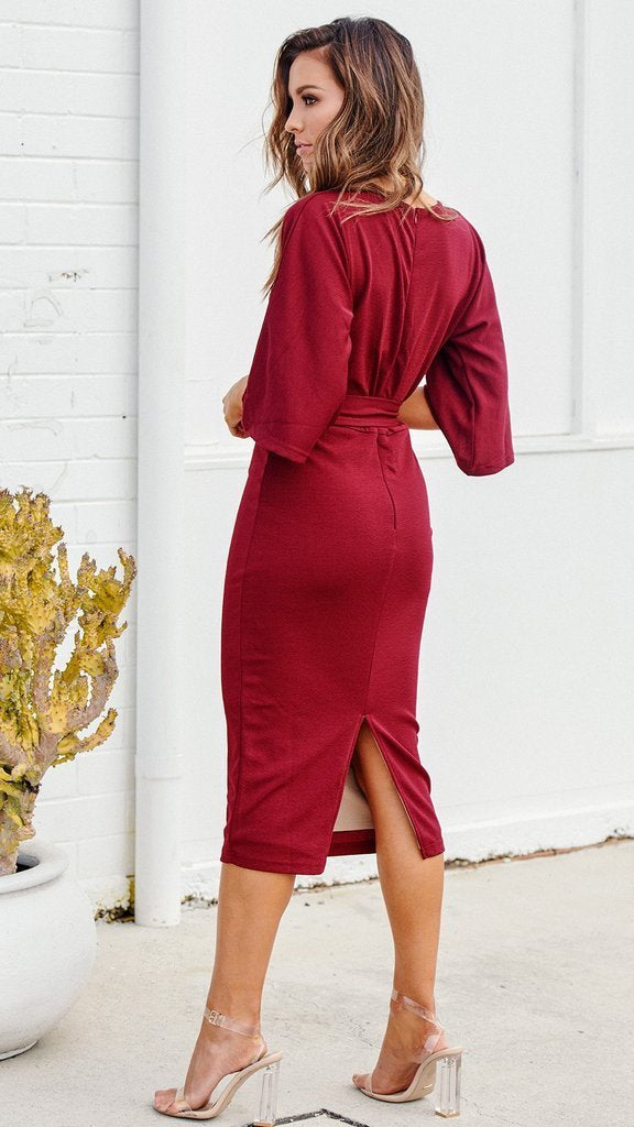 Women's Red V-neck Casual Dress