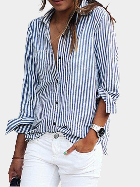 Blue Casual Striped Button-Down Shirt - Landing Closet