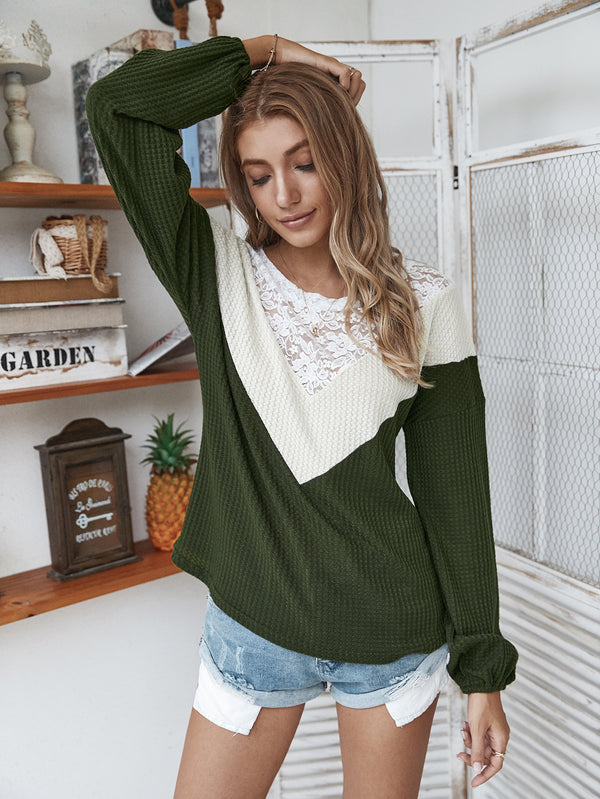 Lace Neck Long Sleeve Pullover