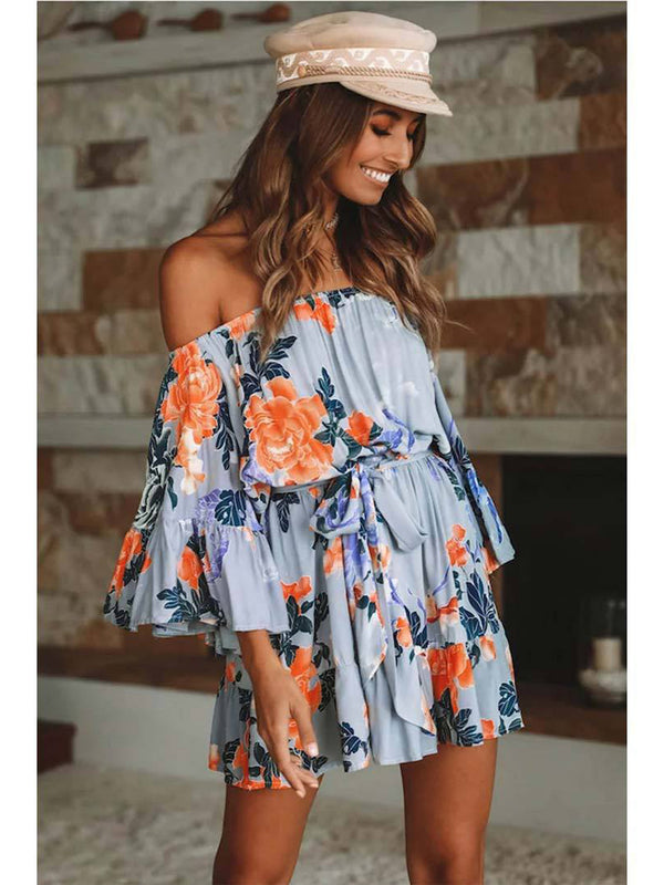Flared Sleeve Floral Off Shoulder Backless Mini Dress - Landing Closet