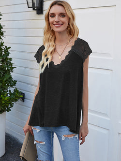 Lace Short Sleeve V-Neck Tops