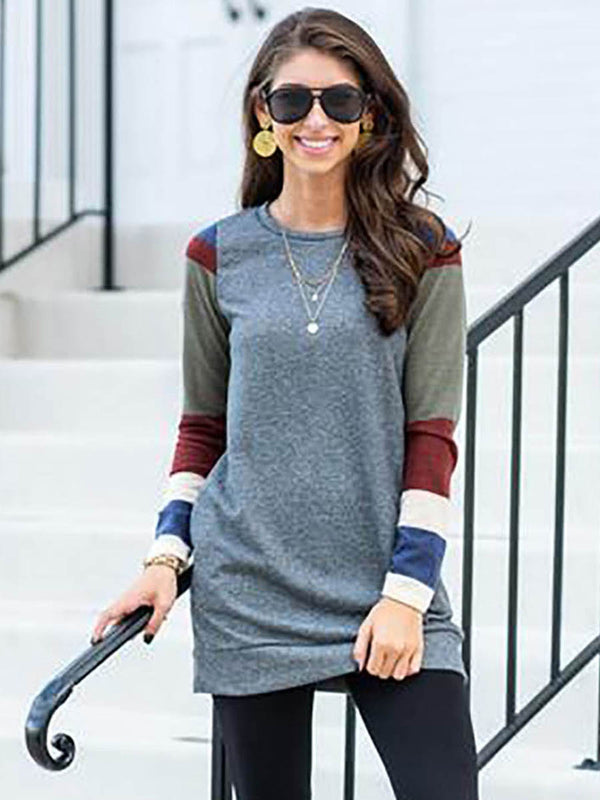 Long Sleeve Simple Scoop Neck T-shirt