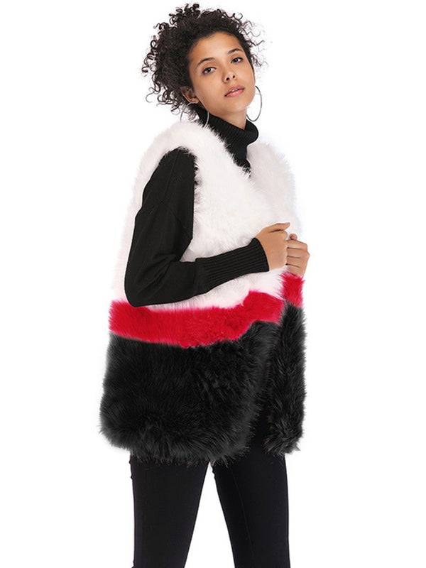 Faux Fur Sleeveless Stitching Plush Coat Jacket - Landing Closet