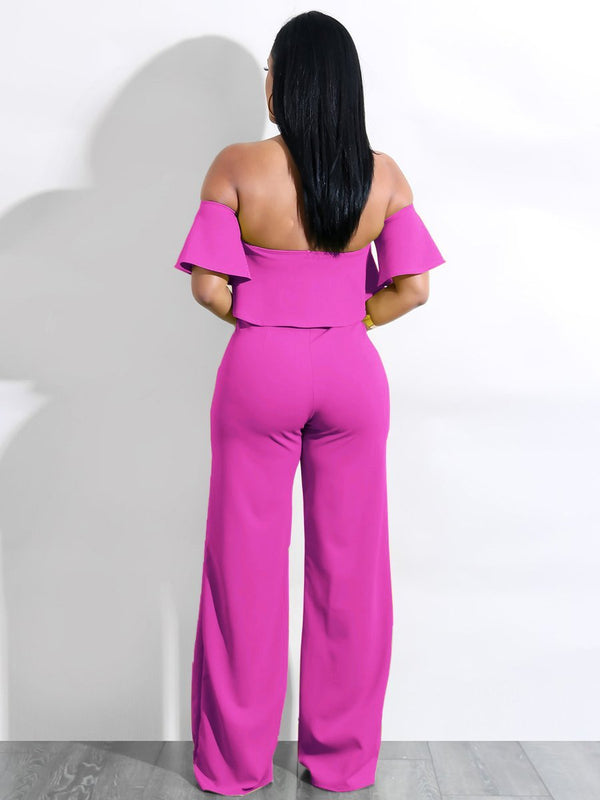 Ruffled Strap Wide Leg Jumpsuit