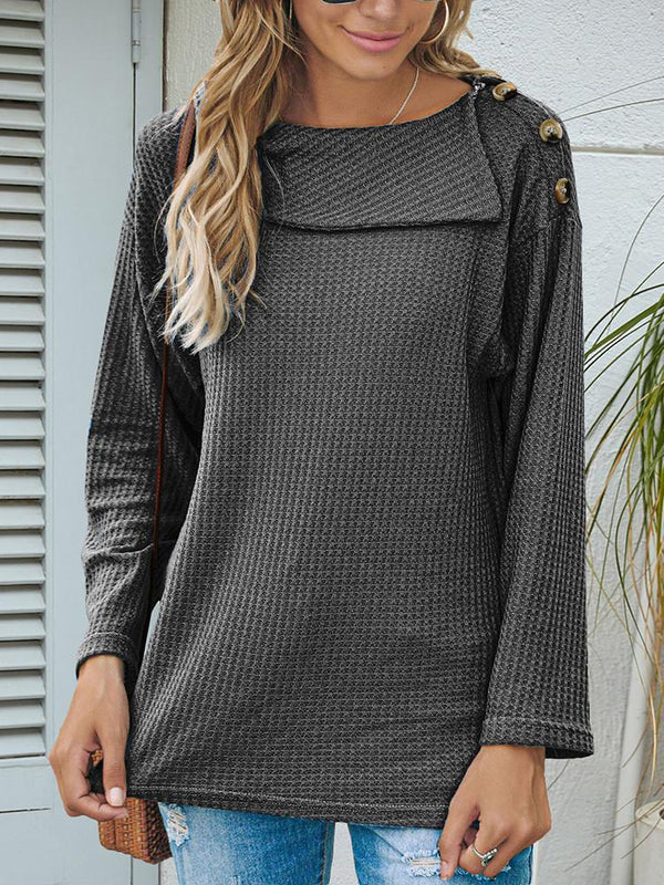 Lapel Shoulder Button Solid Long-sleeve T-shirt