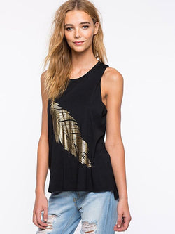 Round Neck Sleeveless Leaf Printed Tank Top