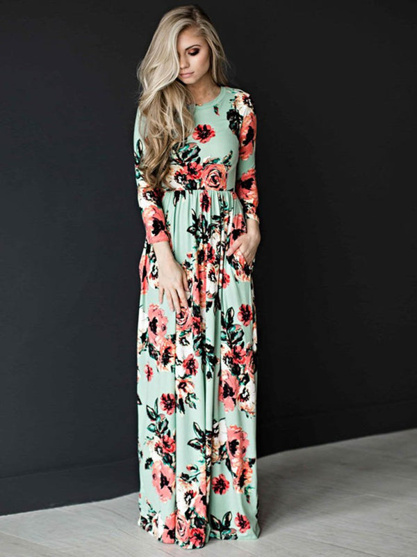Long Sleeve Floral Print Belt Maxi Dress
