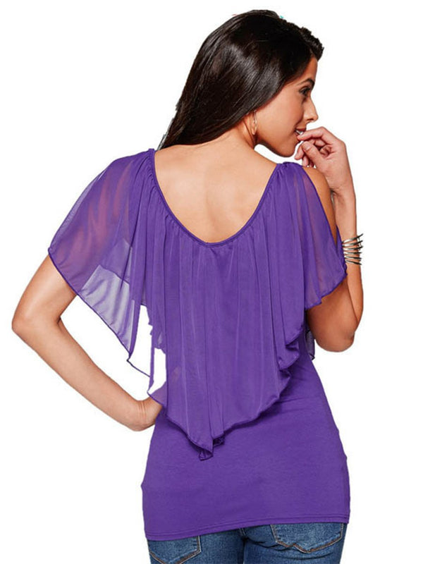 Bat Sleeves V-neck T-shirt Top - Landing Closet