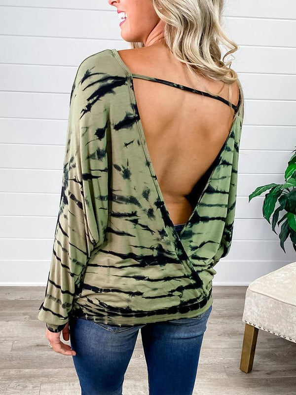 Backless Tie-dye Striped Long Sleeve T-shirt