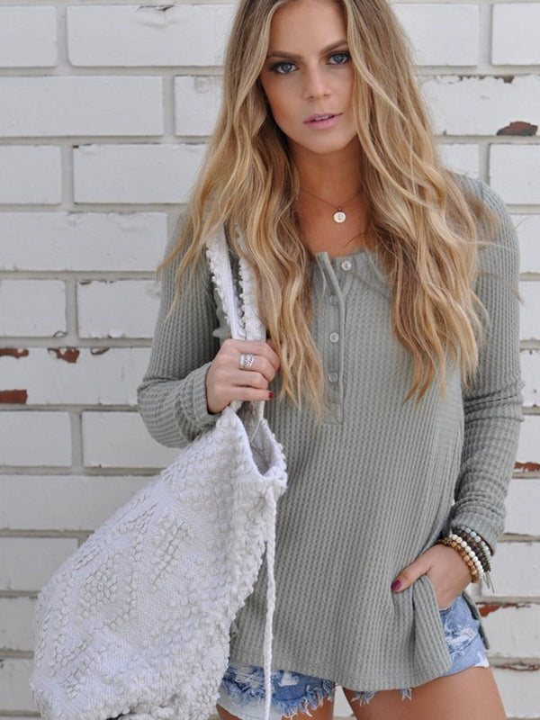 Round Neck Side Split Knitted Top Sweater