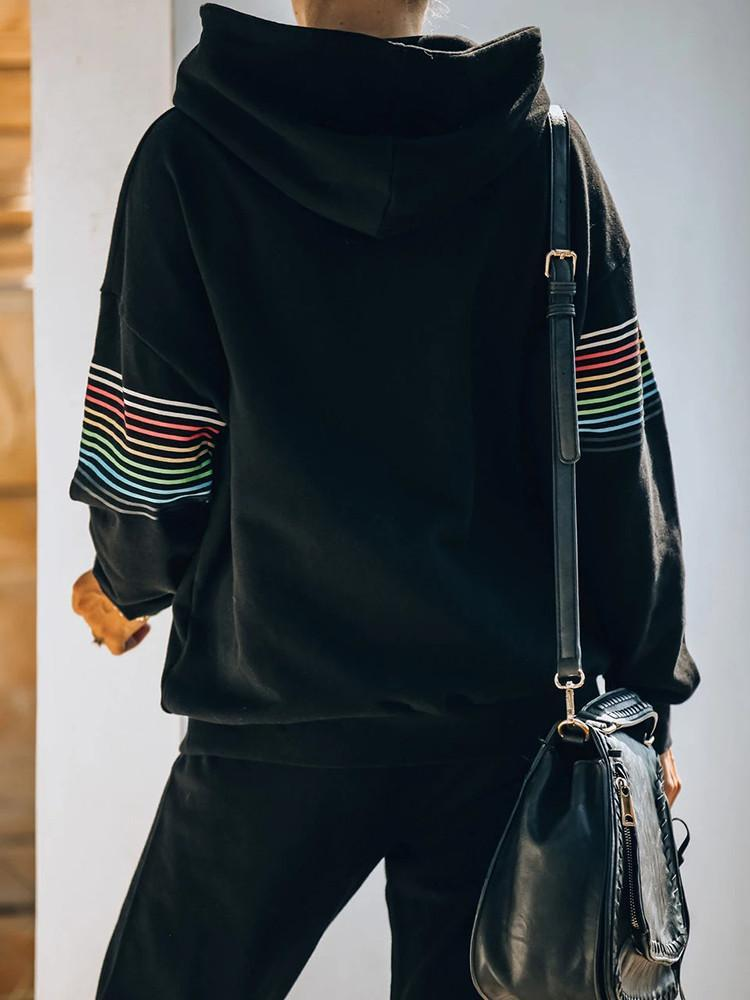 Black Rainbow Hoodie Drawstring Pants Two-piece