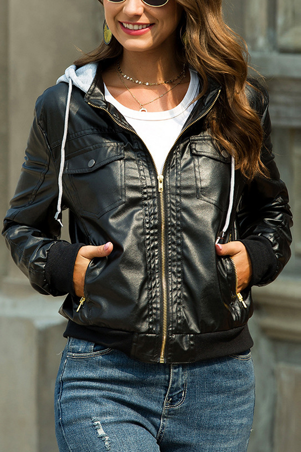 Detachable Hooded PU Jacket