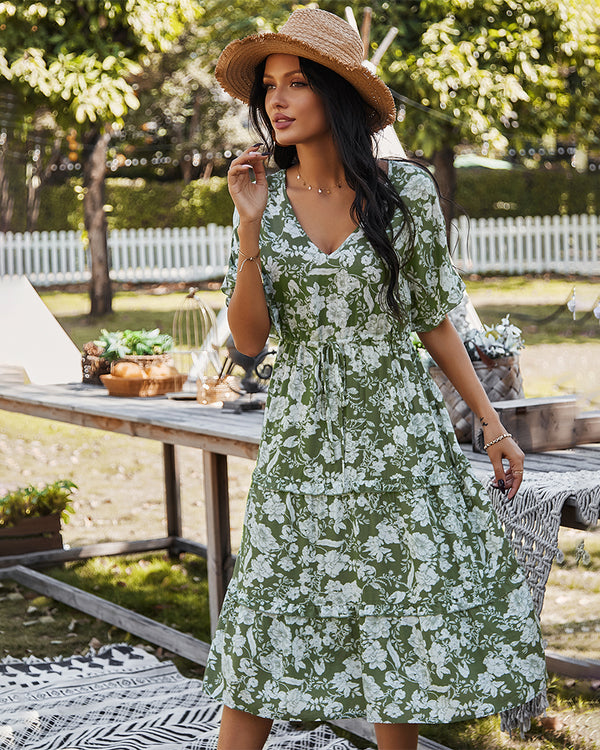 Short Sleeve Floral Midi V Neck Dress
