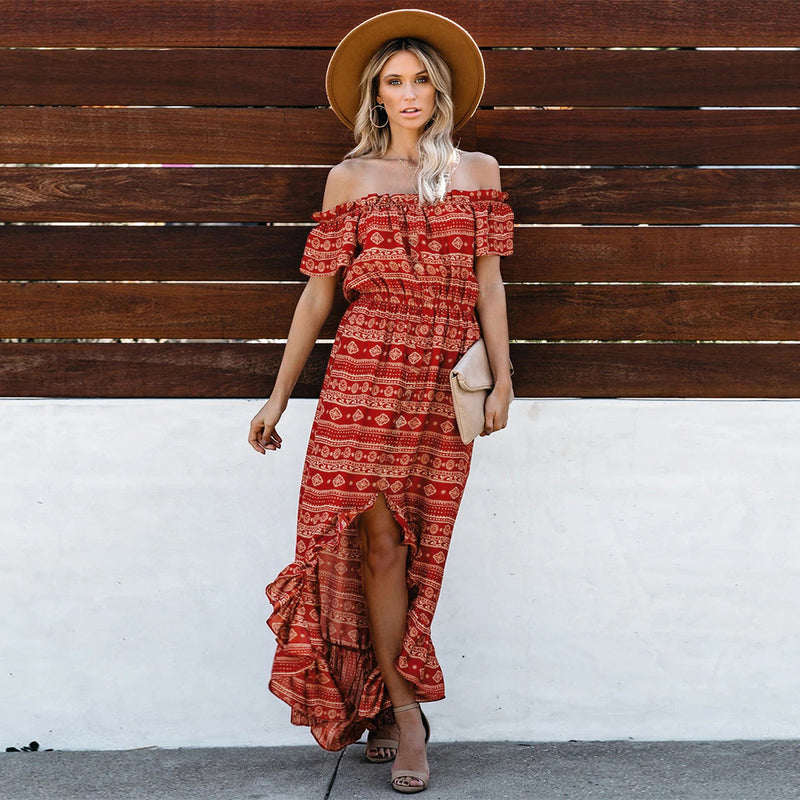 Off Shoulder Ruffled Long Maxi Dress