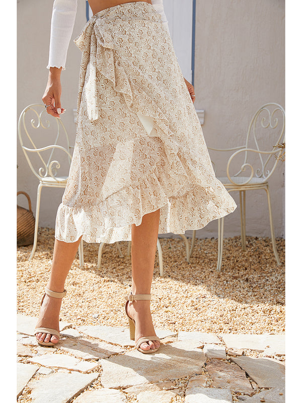 Floral Print Wrap Ruffle  High Waist Flowy Midi Skirt with Slit