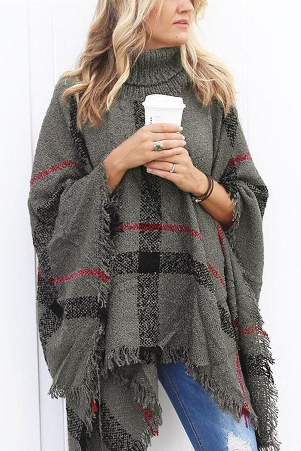 Shestorms Turtle Neck Cape Shawl Loose Sweater