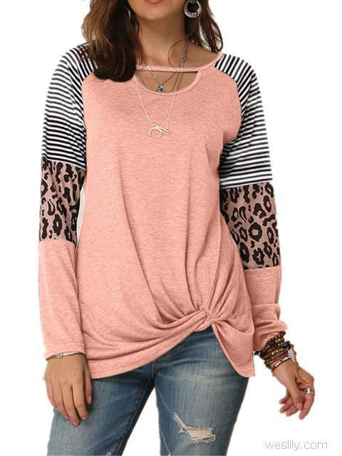 Leopard Print Striped Stitching Knoted T-shirt