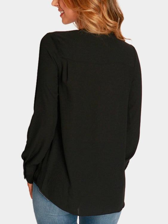 7/27 Wrap Front Deep V-neck Blouse - Landing Closet