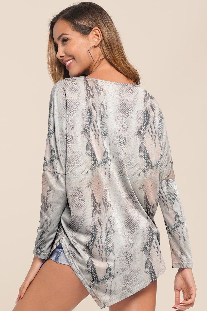 Floral Long Sleeve Square Neck Blouse