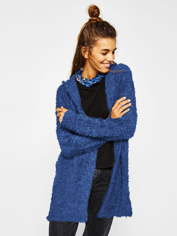 Plush Hooded Open Front Long Cardigan Coat
