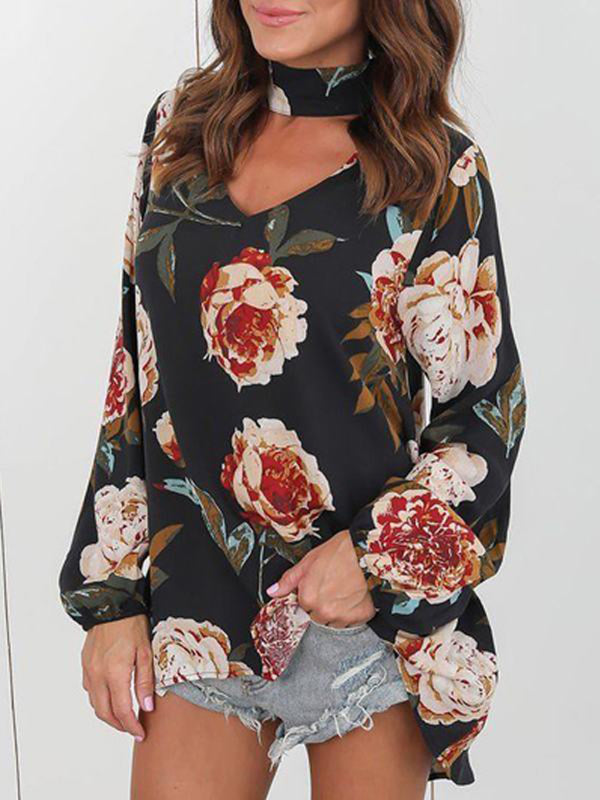 Autumn Flower Print Long Sleeve Loose T-shirt - Landing Closet