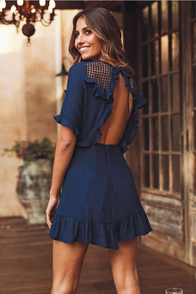 Blue Summer Backless Flower Short Sleeve Mini Dress - Landing Closet