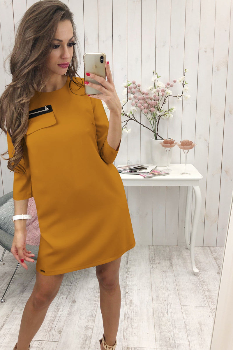 3/4 Length Sleeve Plain Casual Crew Neck Mini Dress Goldenrod - Landing Closet
