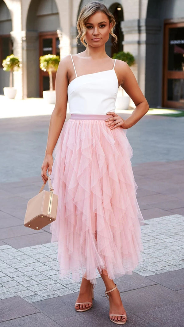 Elastic Waist Tulle Tiered Classic Long Skirt
