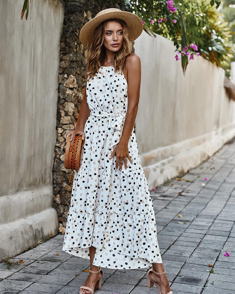 Polka Dot Sleeveless Long Dress