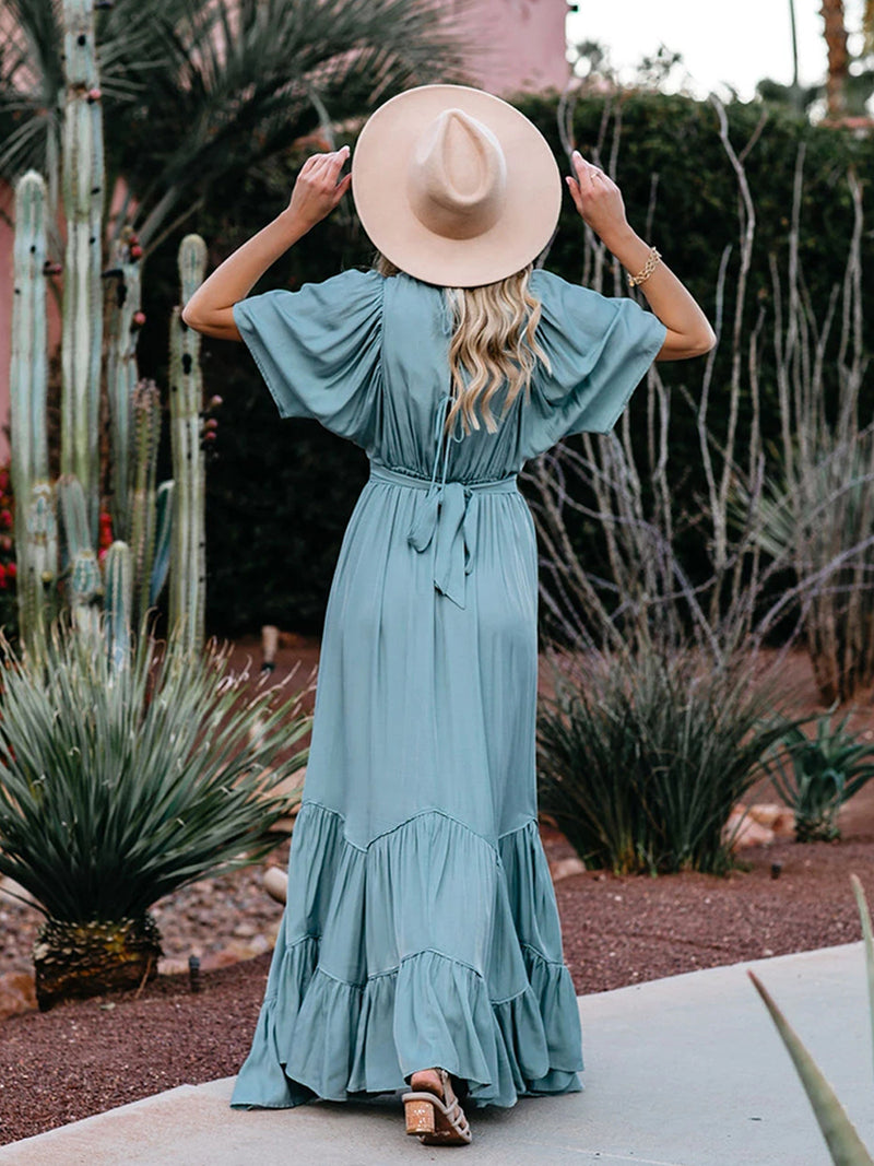 Season Pocketed Tiered Maxi Dress
