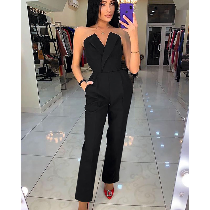 Off Shoulder Sexy V Neck Long Pants Jumpsuit