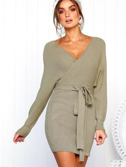 V-neck Knit Waist Belt Long Sleeves Sweater Dress