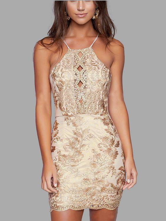 Thread Embroidered Hollow Out Halter Neck  Backless Dress in Gold