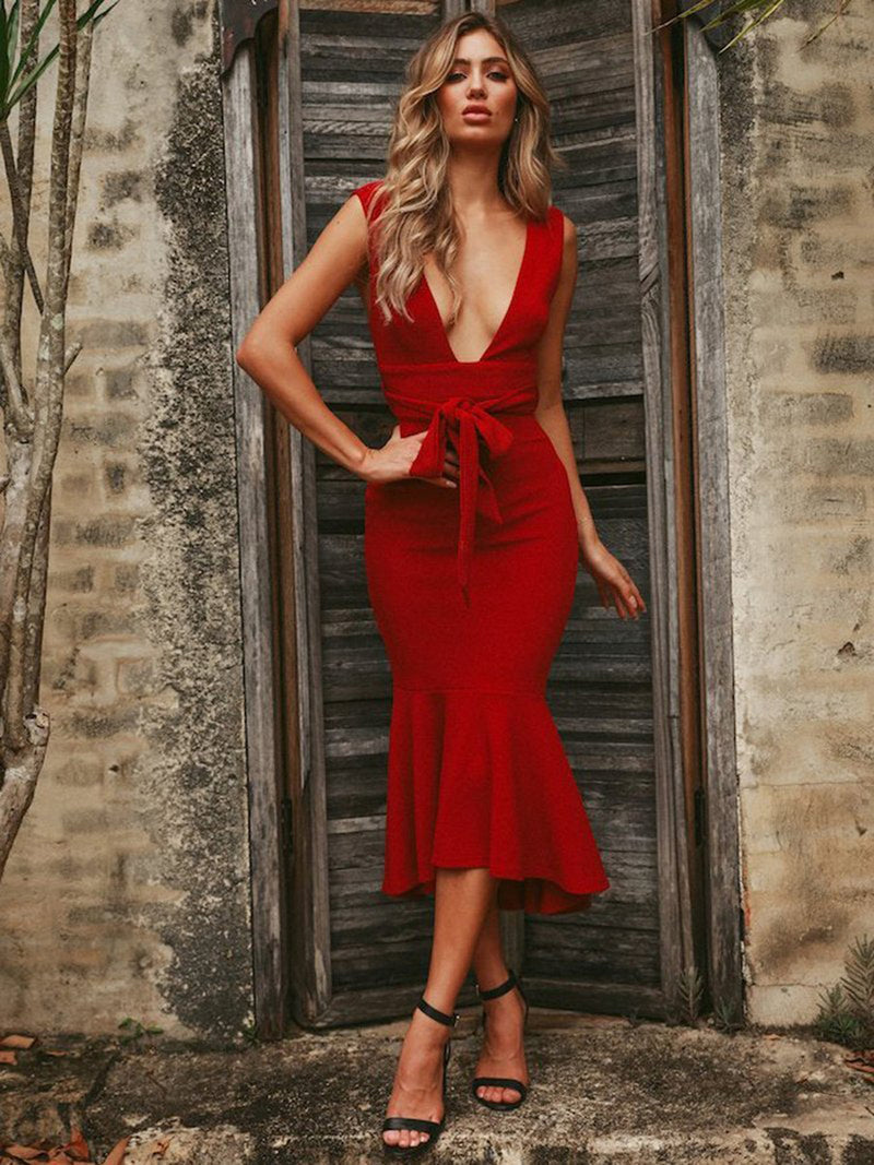 Red Super Star Midi Dress