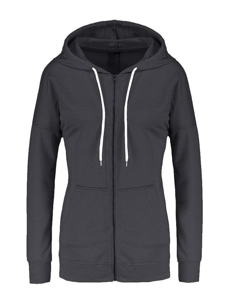 Casual Long Sleeve Zip Up Hoodie - Landing Closet