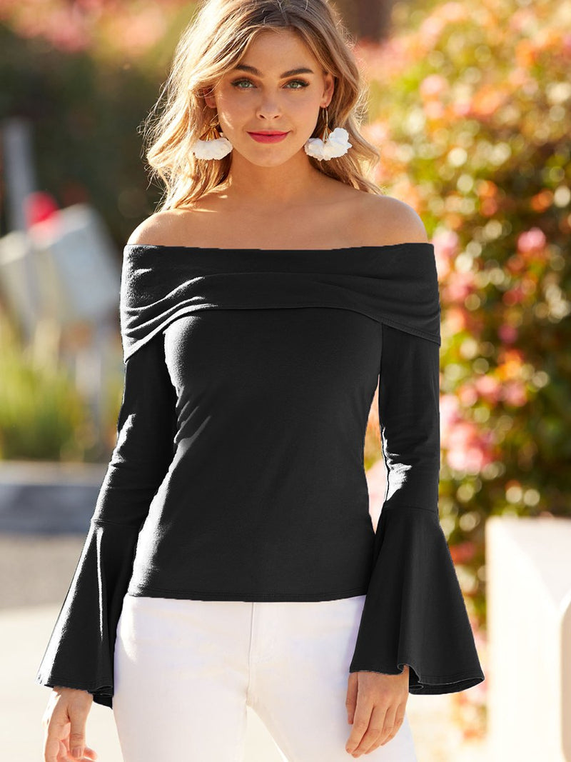 Off-Shoulder Top with Flared Sleeves